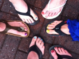 Mels bday + moms-day-out prerace pedis